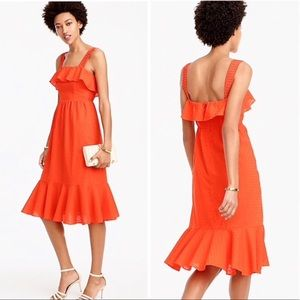 J. Crew ruffle eyelet sleeveless midi dress orange